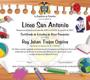 formato diplomas grado preescolar p16-carta opa